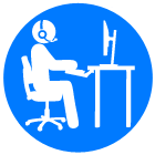 project support icon blue circle