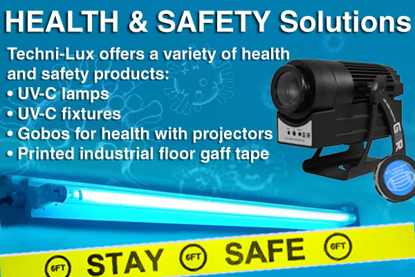 Health & Safety Solutions - UV-C lamps, UV-C fixtures, gobos, printed tape